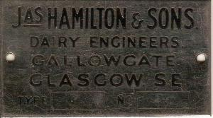 JAS HAMILTON & SONS. DAIRY ENGINEERS. GALLOWGATE, GLASGOW, S.E.